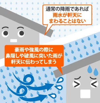 豪雨や強風によって軒天に雨水が伝わります
