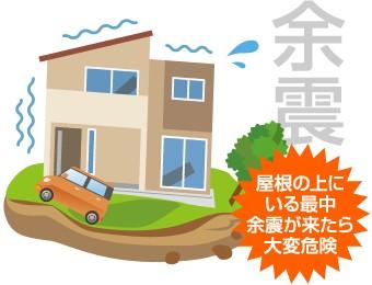 屋根のいる際中に余震がきたら大変危険