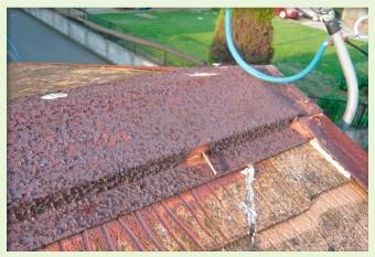 棟板金にサビが広がると甲板の腐食の原因に