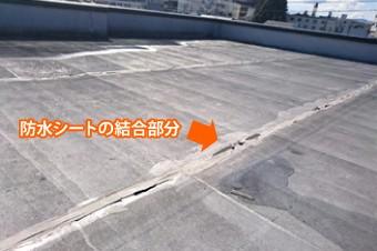防水シートの結合部分の写真