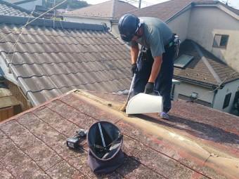 棟板金撤去の掃除