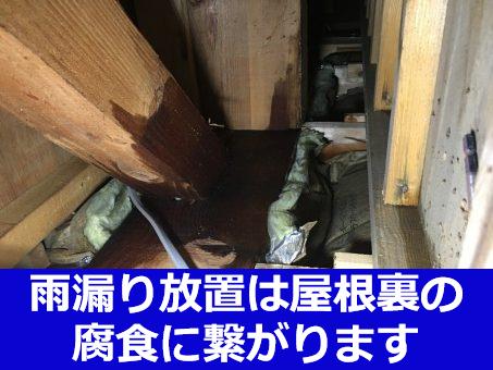 雨漏りの放置は屋根裏を腐食に繋がります