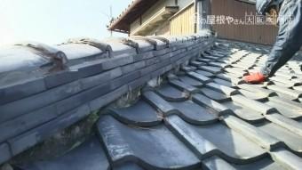 下屋根平場瓦の様子を調査