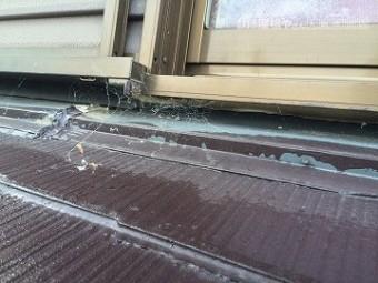 雨漏り調査 下屋根の調査 サッシ周り