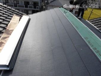 ルーフィング施工途中の屋根