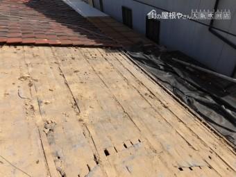 葺き替え工事 葺き土の清掃完了