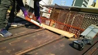 棟板金交換工事 貫板の施工