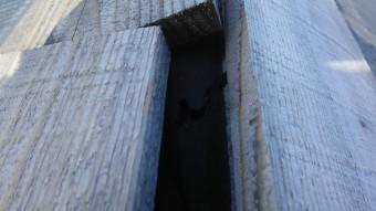 台風により外れた棟板金下の木材