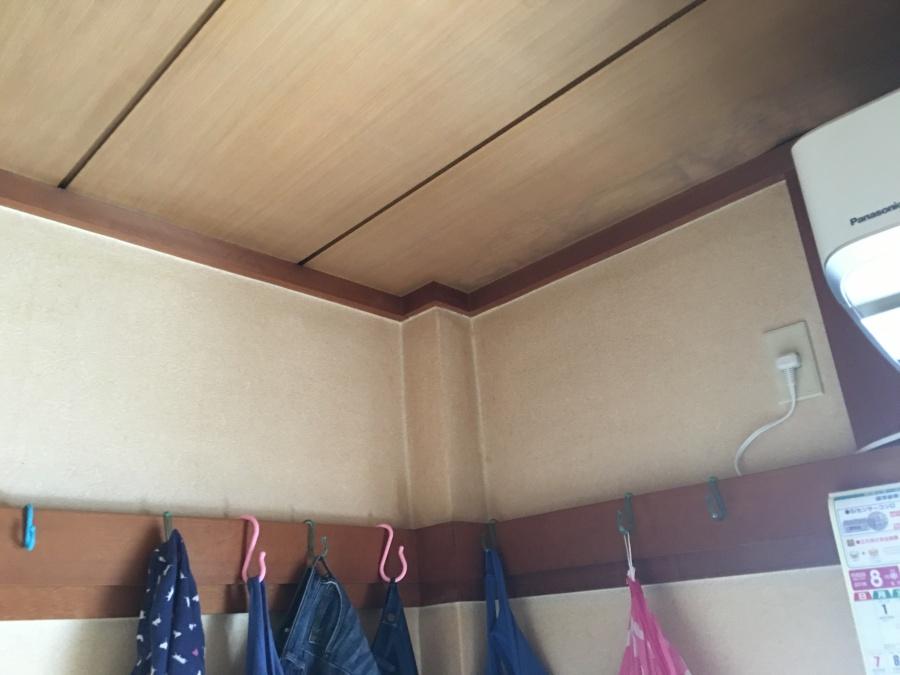 雨漏りで雨染みが生じている居室天井とクロス