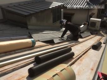 瓦棒屋根の防水シート下地