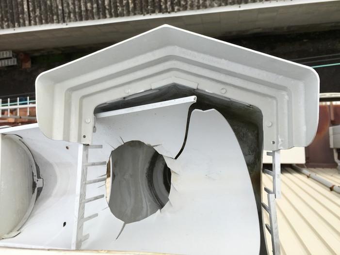 割れた雨樋の一部
