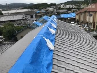 地震で歪んだ大棟をブルーシートでカバー