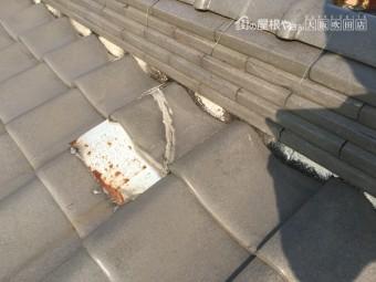 のし瓦の下に詰めている漆喰の劣化