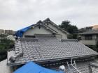 台風で被災した瓦屋根をブルーシート養生