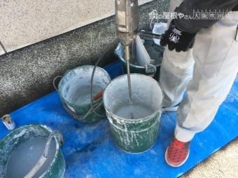 なんばん漆喰撹拌作業