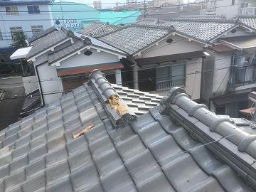 台風で飛散した棟瓦