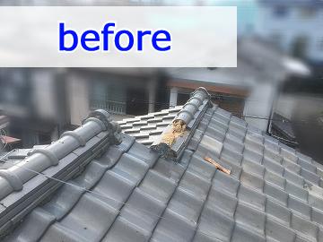 修繕前の崩れた屋根
