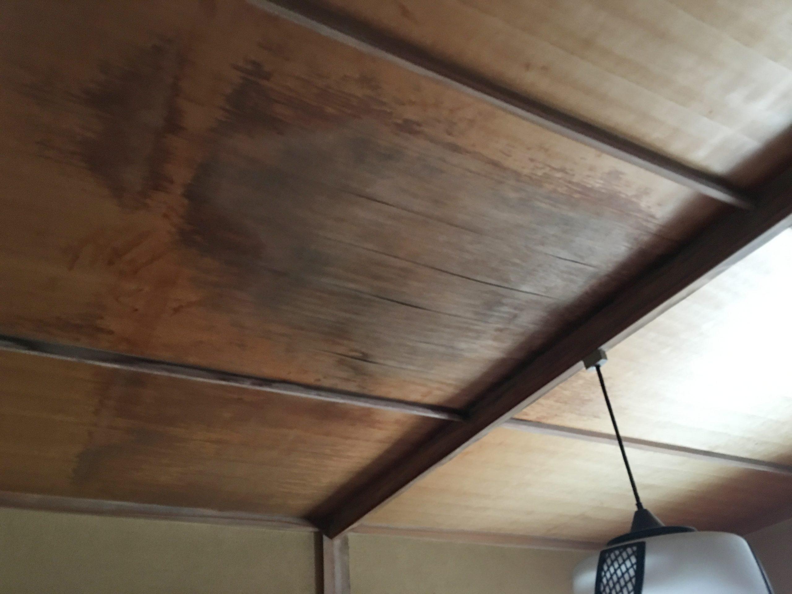 雨水によりたわんだ天井板