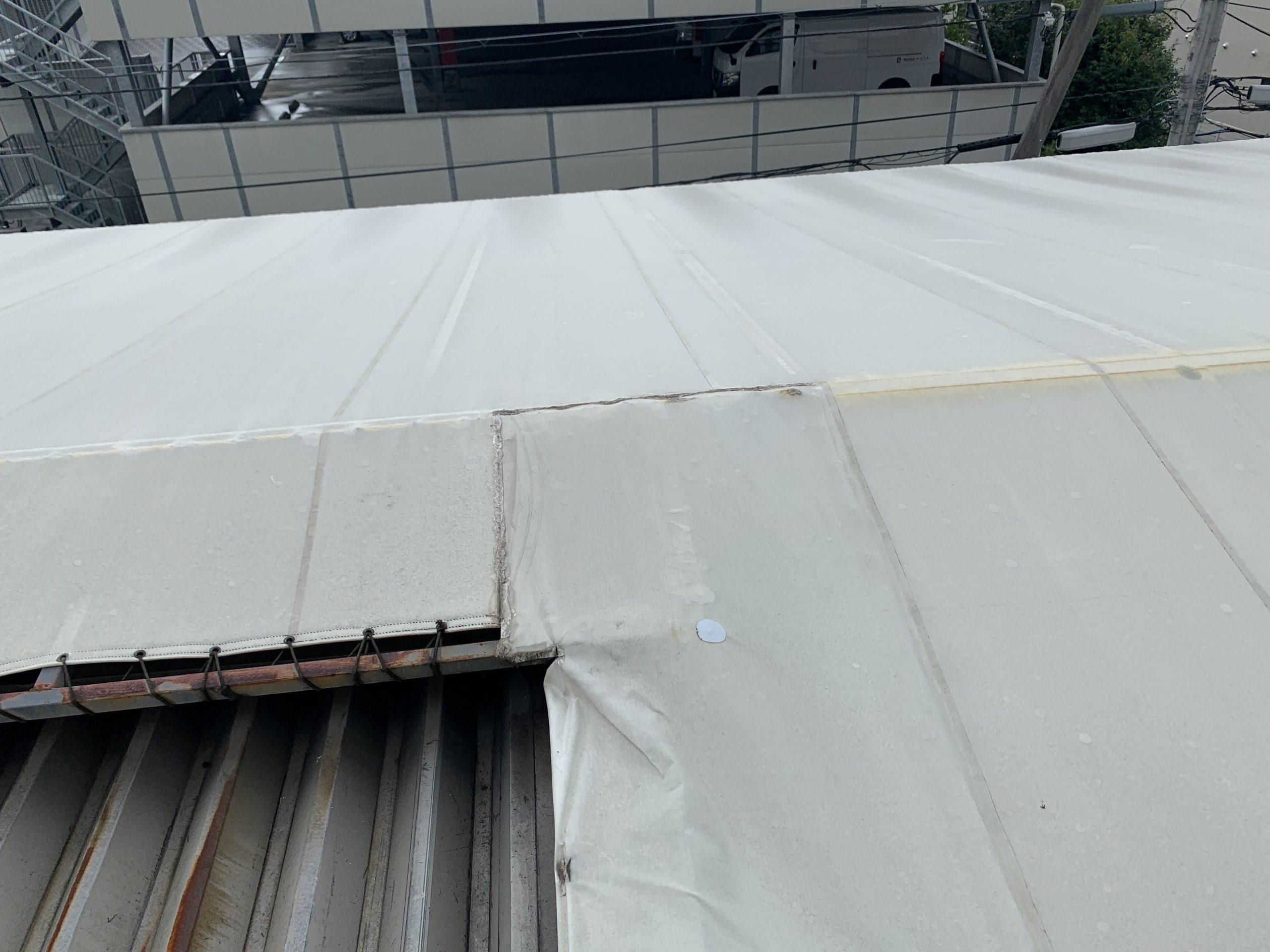 テント屋根の調査中