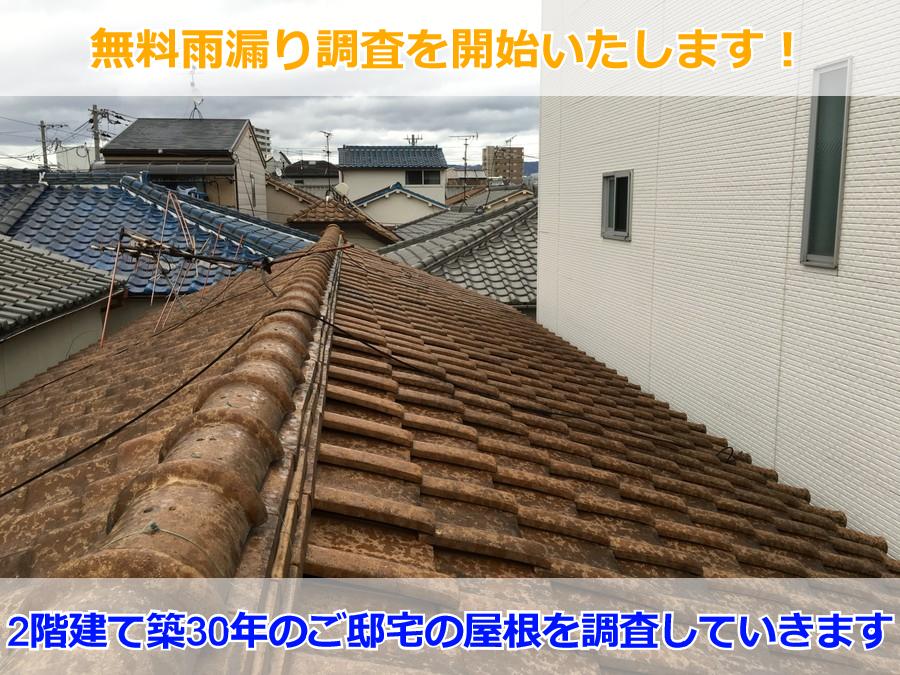 屋根の雨漏り調査中