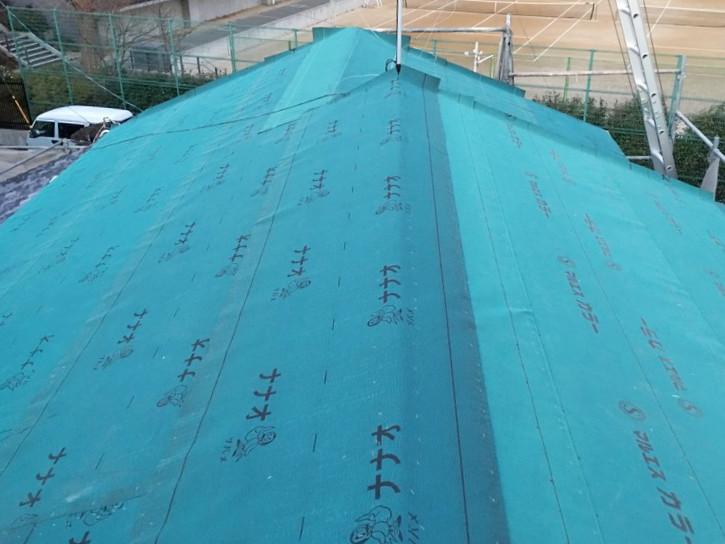 ルーフィング施工後の屋根