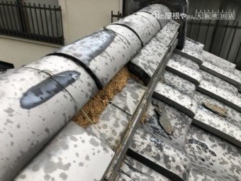 台風による熨斗瓦のくずれ