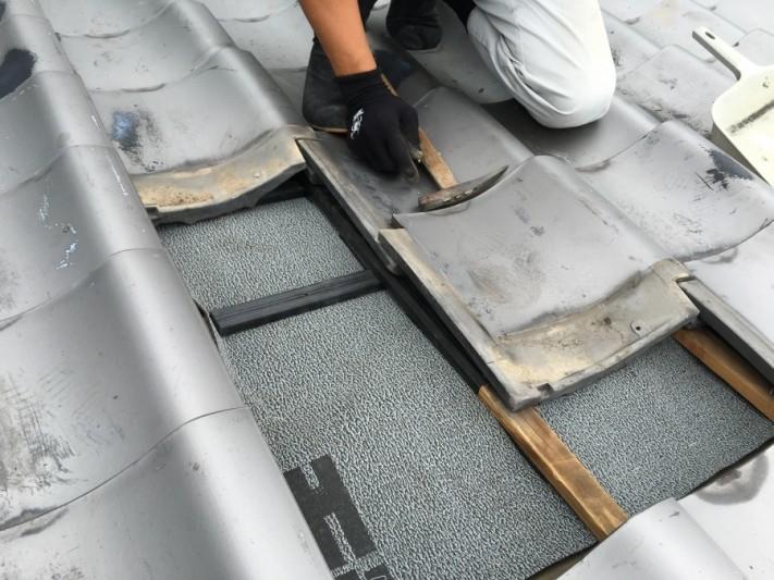 補修後屋根瓦取付