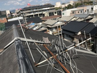 摂津市 台風被害 アンテナの倒壊