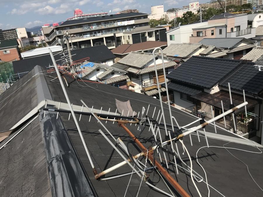 台風被害 アンテナの倒壊