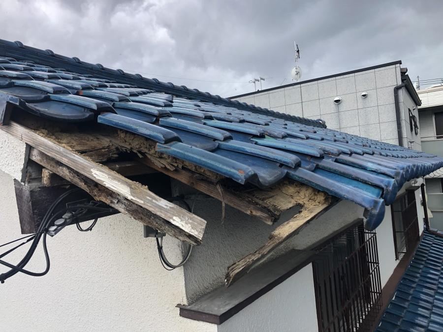 屋根葺き直し工事前