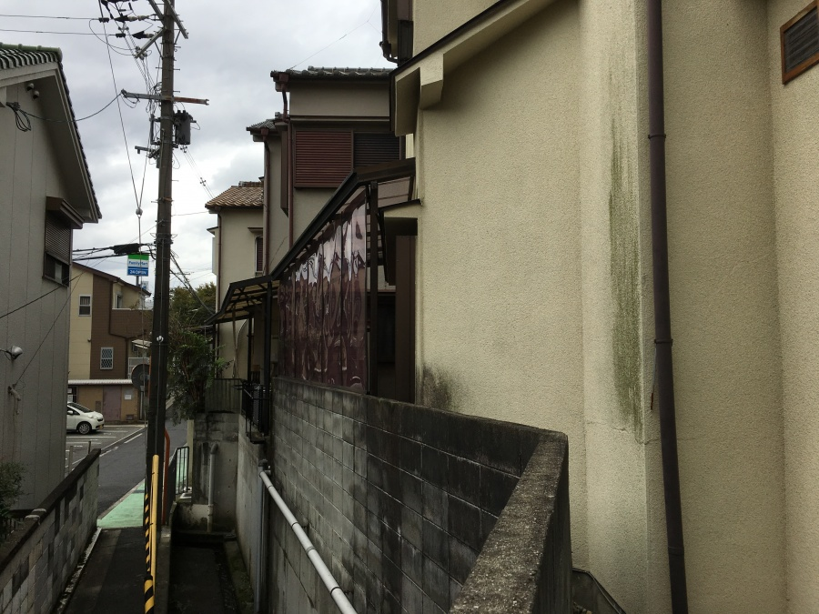 外壁塗装が黒ずんで劣化している様子