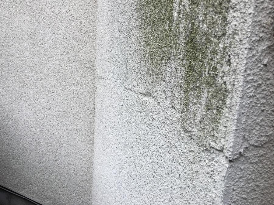 外壁塗装が劣化し黒ずんでいるのと同時にひび割れが生じている様子
