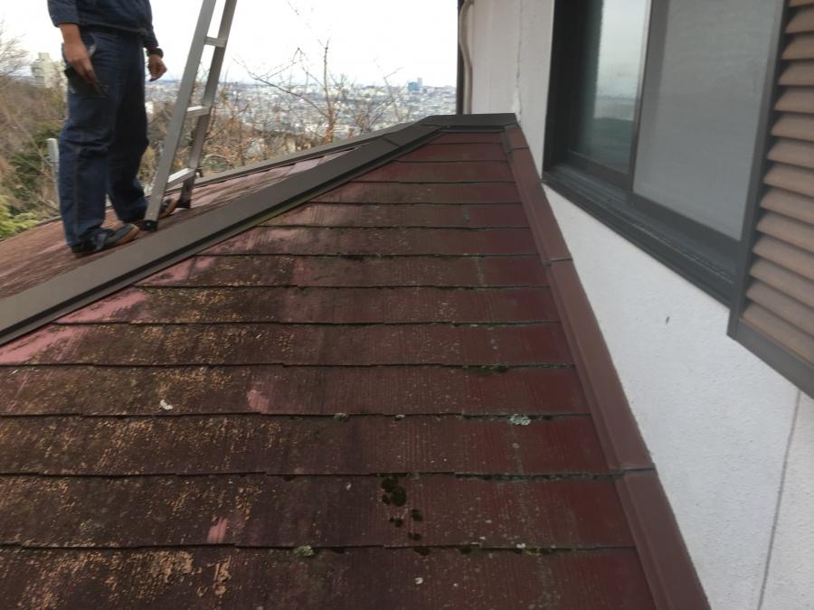 劣化したカラーベストの屋根に上って調査する職人