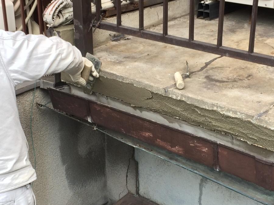 ベランダ補修、コンクリート塗り2回目