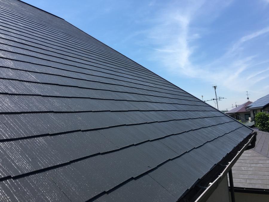 塗装しなおしたカラーベストスレート屋根