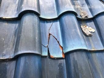 割れた屋根瓦