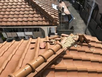 台風で被災した瓦屋根下り棟
