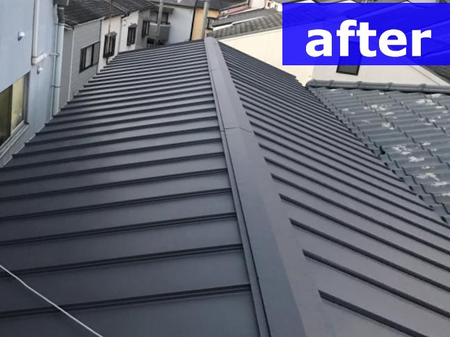 箕面市 屋根カバー工事!ガルバリウム鋼板で災害に強い屋根へ
