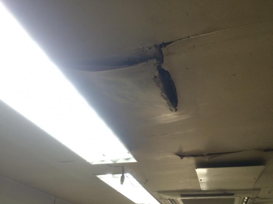 雨漏りによる天井の剥がれや裂けなどの劣化