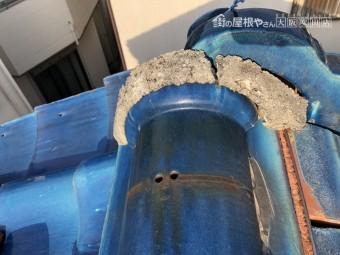 地震で崩れた漆喰