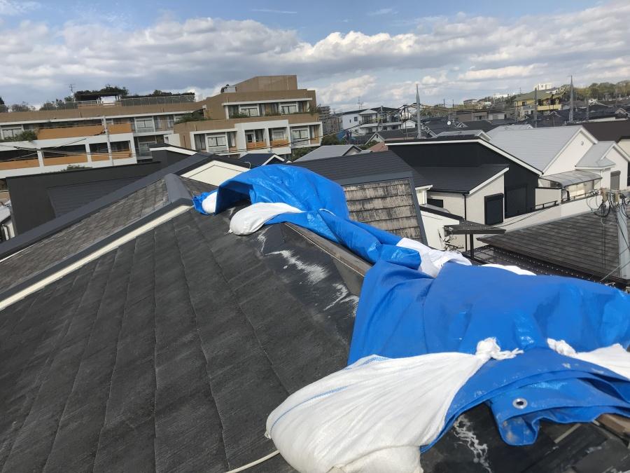 台風によるスレート屋根板金の捲れ
