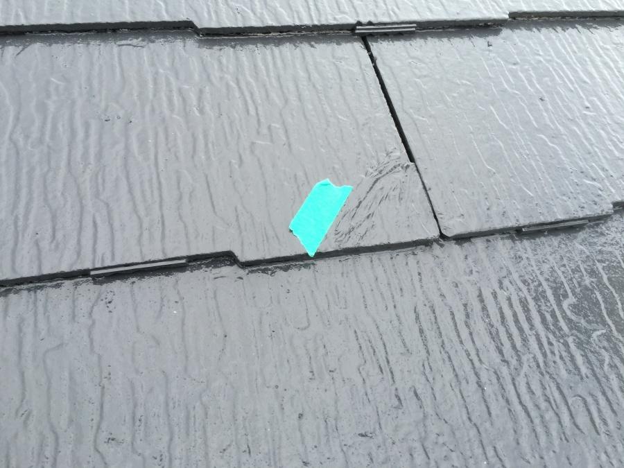 スレート屋根割れヒビ不具合箇所をマーク