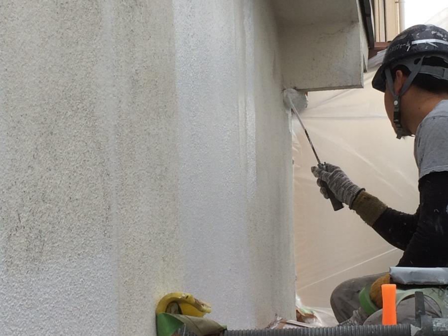 平野区加美東|養生後、モルタル外壁を塗装いたしました