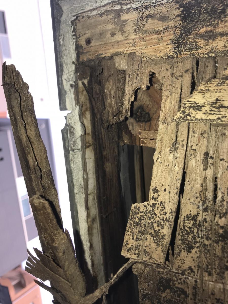 劣化し朽ちた建物木材