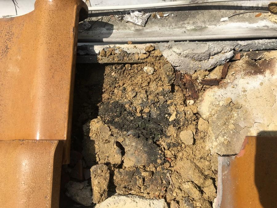 雨漏り点検で発見した葺き土の劣化