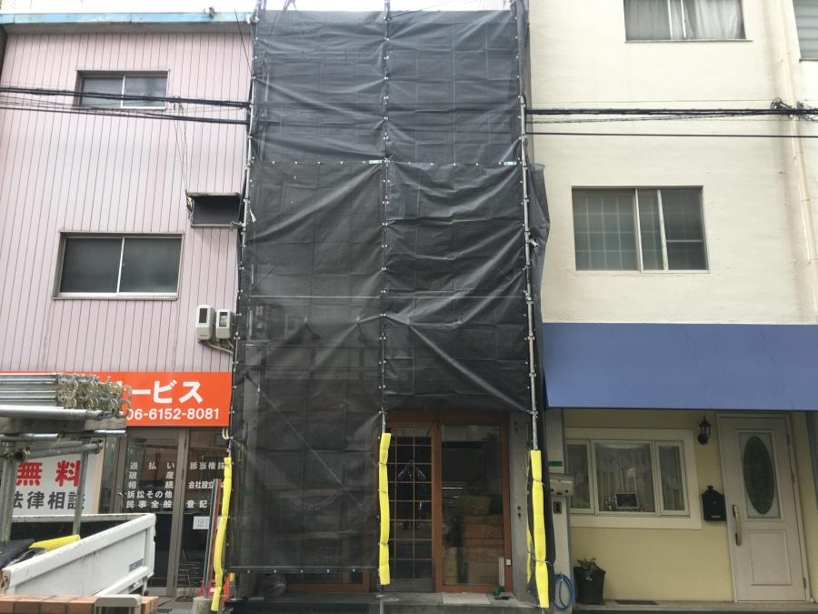 外壁塗装足場と塗装飛び散り防止のシート