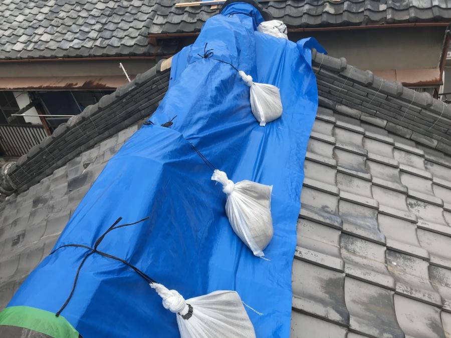 崩れた屋根をブルーシートで応急処置