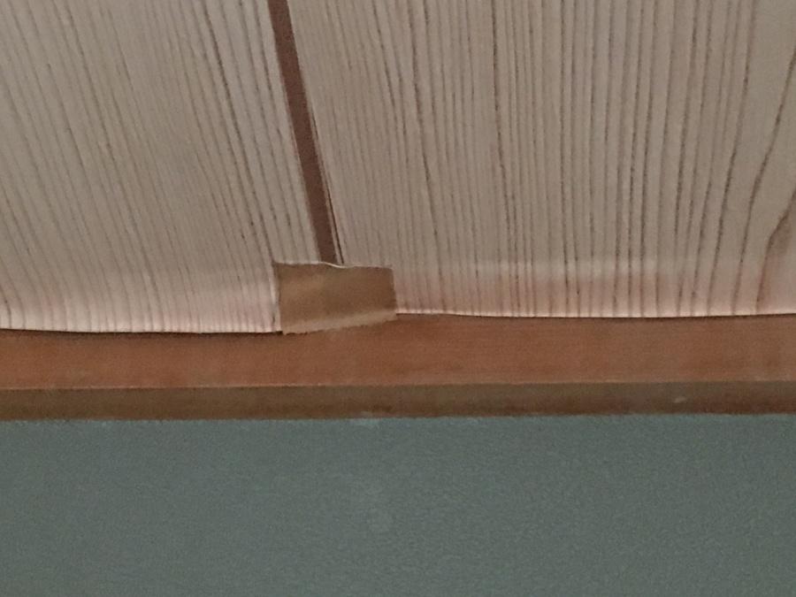 天井雨漏りめくれにガムテープ