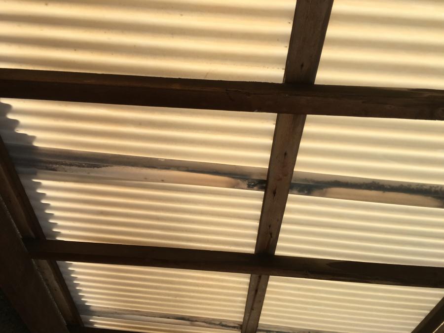 ポリカーボネート屋根の裏側の雨染みの見られる木材