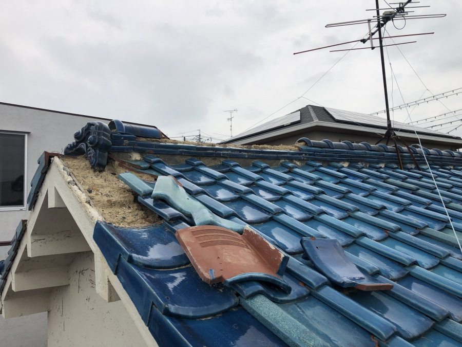 豊中市より袖瓦の飛散被害の模様をご紹介します!